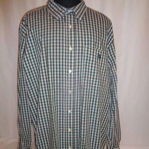 US Polo Assn 3XLT Green White Plaid Shirt